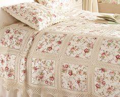 Conjunto de cama entre dos tela y tejido confeccionados en puntos bajos