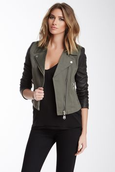Doma Leather Sleeve Jacket