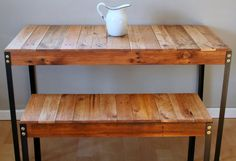 Rustic Industrial Reclaimed Wood Table/Desk & Bench Set