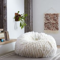 PB Teen Faux-Fur Beanbag, Large Slip, Llama ($119) ❤ liked on Polyvore featuring home, furniture, chairs, accent chairs, plush chair, recycled furniture, bean-bag chair, circular chair and slipcover chair