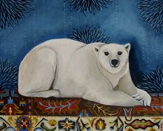 Bear On A Rug, painting by artist Catherine Nolin