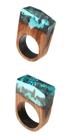 Rings n things dunstable creative secret forest handmade blue snowscape charm wood ring unisex jewelry unique gift #5 #rings #then #voicemail #letter #m #rings #m #rings #image #rings #gymnastics