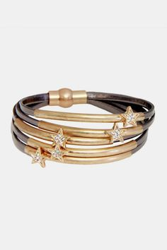 Metal Tubes & Crystal Stars Silver-Tone Leather Bracelet