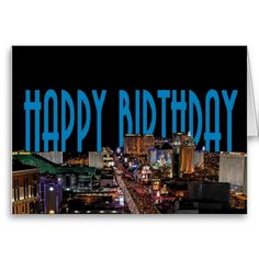 Las Vegas Strip Happy Birthday Card BLUE