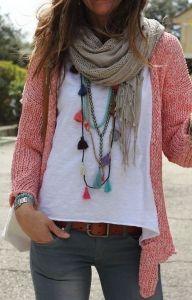 #fall #fashion / pink knit + scarf