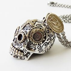 Luxury Large Sugar Skull Pendant http://galibardy.com/product/luxury-large-sugar-skull-pendant/