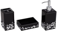 Black 2 Piece Marble Bathroom Accessory Set Accessories Sets And