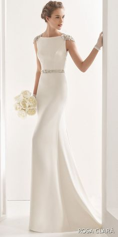 Wedding Dresses rosa clara 2017 bridal embellished cap sleeves bateau neck simple clean elegant sheath wedding dress open low back chapel train (naira) fv - Fall in love with these stunning gowns with statement backs! Plain Wedding Dress, Rustic Wedding Dresses, Best Wedding Dresses, Wedding Gowns, Bateau Wedding Dress, Wedding Reception, Wedding Dress Sheath, Sleek Wedding Dress, Simple Elegant Wedding Dress
