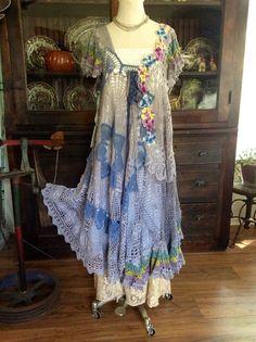 Luv Lucy Crochet Dress On Rainy days Pansies par LuvLucyArtToWear, $310.00