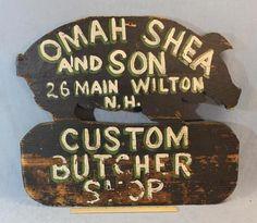 Antique Folk Art Painted Wood New Hampshire Butcher Pig Trade Sign *NR*       See original listing