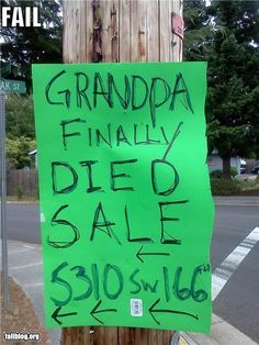 funny yard sale sign