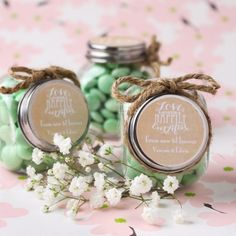 Personalized Wedding Themed Candy Jars by Beau-coup // Candy not included