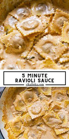 Ravioli Sauce, Cream Sauce Pasta, Creamy Sauce, Quick Pasta Recipes, Sauce Recipes, Italian Dishes, Italian Recipes, Entree Recipes, Cooking Recipes