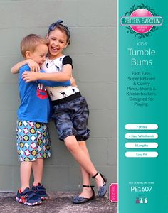 Kids Tumble Bums shorts pants knickerbockers harems pdf sewing pattern by Pattern Emporium