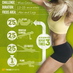 Got a spare 15mins and want to blast your core? Take the Legs and abs mini-circuit challenge