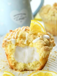Lemon Cream Cheese Muffins are an easy recipe for moist lemon-infused muffins made with Greek yogurt and a crunchy streusel crumb topping, filled with Muffin Recipes, Breakfast Recipes, Breakfast Dessert, Cream Cheese Muffins, Cream Cheese Desserts, Lemon Blueberry Muffins, Homemade Muffins, Lemon Desserts, Lemon Desert Recipes