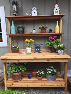 Potting bench made by my husband