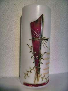 Candle design Bärbl: Mourning Source by Easter Cross, Diy Candles, Candle Making, Diy Crafts, Vase, How To Make, Gardening, Inspiration, Decorated Candles