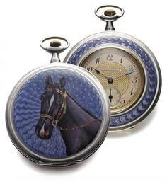 Tavannes Silver Horse Watch |   Tavannes Watch Co., Swiss, No. 682140. Made circa 1925. Fine and rare, thin, silver and painted on enamel, keyless dress watch. Three-body, solid, bezel decorated with white and translucent purple enamel inlay, hinged case back with cobalt blue transparent guilloche enamel centered by the horse heads, outer rim with white enamel inlay. Bicolor engine-turned gold and silver with black painted Arabic numerals on a plain reserve, outer minute track. Blued steel…