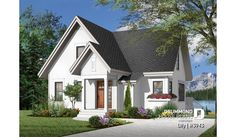 Discover the plan 3943 - Lilly from the Drummond House Plans house collection. 3 bedroom A-Frame cottage with mezzanine and large terrace. House Plans 3 Bedroom, Cottage House Plans, Cottage Homes, Plan Chalet, Foyer Flooring, Grands Salons, Drummond House Plans, Bohemian Living Rooms, Lakefront Homes