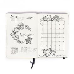Ideas for your September bullet journal including the best themes, cover page, habit trackers, and more pretty September bujo page ideas. The cutest bullet journal ideas. Bullet Journal Calendrier, Planner Bullet Journal, Bullet Journal Spread, Bullet Journal Layout, My Journal, Journal Covers, Bullet Journal Inspiration, Journal Pages, Journal Ideas