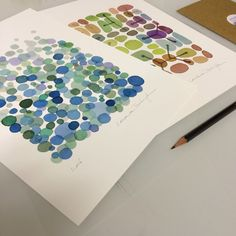 Set of 2 prints. A customers choice I like very much. Blue green dots and colored pebbles.