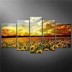 So Crazy Art® 5 Panel Yellow Orange Wall Art Painting Beautiful Yellow Sunflowers Colourful Sky Background Golden Sunset Pictures Prints On Canvas Flower The Picture Decor Oil For Home Modern Decoration Print So Crazy Art Plant Painting, House Painting, Painting Prints, Wall Art Prints, Poster Prints, Framed Artwork, Sunflower Room, Sunflower Kitchen Decor, Canvas Pictures