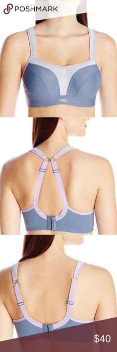 Panache underwire sports bra Designed for the full-busted woman,reduces bounce by 83%. Wide padded straps disperse pressure evenly on the shoulders.Smooth lightly molded cups help reduce friction and improve comfort. Lightweight microfiber fabric wicks moisture away from skin and brwathable mesb panels help keep skin cool. This is a lovely sports bra,turned out to be too small for me by the time I tried to wear it, so selling to find a larger size for myself. Panache Intimates & Sleepwear…