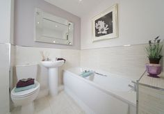 Taylor Wimpey - Lucet Meadow (Redditch) - Interio Designed Bathroom - Pale Lilac and bamboo effect wall tiles - this is perhaps one of the most serene schemes I've seen - for a small 3 bedroom semi, the whole house is bijoux luxury Bathroom Design, Home, Show Home, New Homes For Sale, House, Bathroom Remodel Master, Taylor Wimpey, Basement Paint Colors, New Homes
