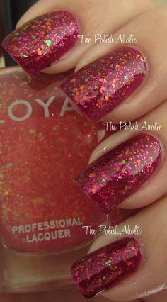 red glittery Zoya nail polish