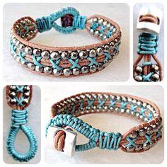 Handmade leather wrap bracelet with silver by ChristinaBbracelets