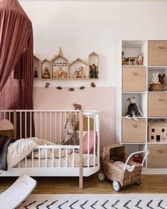 Amazing Nursery Decorating Ideas - Baby Room Design For Chic Parent Renovation - Best Home Ideas and Inspiration Kids Wall Decor, Childrens Room Decor, Baby Room Decor, Bedroom Decor, Baby Bedroom, Nursery Room, Girls Bedroom, House Shelves, Baby Room Design