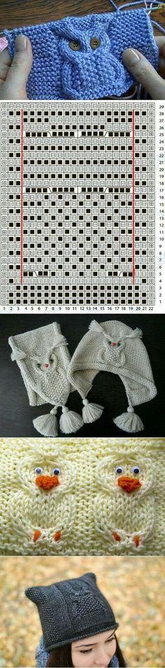 Baby Knitting Patterns Узор СОВА спицами: видео-урок схемы и идеи Baby Knitting Patterns, Owl Patterns, Knitting Charts, Knitting Stitches, Free Knitting, Stitch Patterns, Crochet Patterns, Knitting Sweaters, Bonnet Crochet