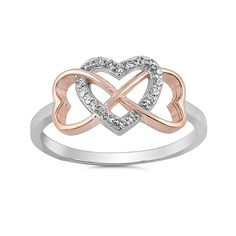 Infinity Heart Promise Ring 925 Sterling Silver Round CZ Choose Color