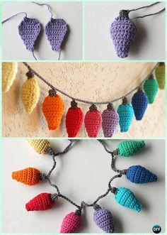 30 DIY Crochet Christmas Ornament Free Patterns, DIY and Crafts, Christmas Light Ornament Crochet Free Pattern - DIY Free Patterns. Crochet Diy, Crochet Amigurumi, Crochet Crafts, Yarn Crafts, Diy Crochet Projects, Crochet Christmas Decorations, Diy Crochet Ornaments, Crochet Christmas Trees, Diy And Crafts Sewing