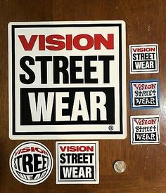 NOS VINTAGE VISION STREETWEAR LOGO LONG SKATEBOARD STICKER