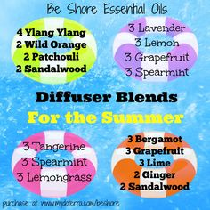I know it's been just one full day of summer but I've been pretending for a few weeks.  These are my summer diffuser blend favs right now.  Join my group: www.facebook.com/groups/BeShoreEssentailOils