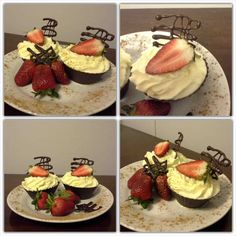 Chocolate cups with cream, cinnamon and strawberries Chocolate Cups, Strawberries, Cinnamon, Cream, Sweet, Desserts, Food, Canela, Creme Caramel