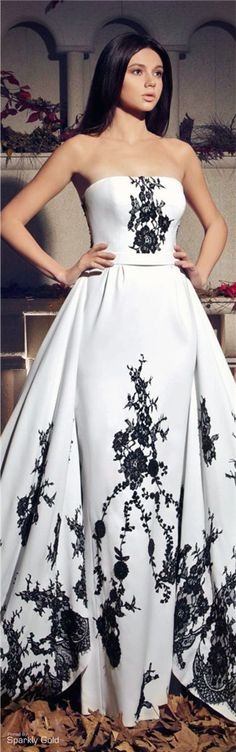 RosamariaGFrangini... FashionChic. Satin Ball Gown B&W