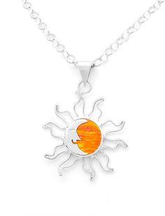 Sterling Silver Goddess Orange Fire Opal Pendant Jewelry Taxco Mexico #Handmade #Sun