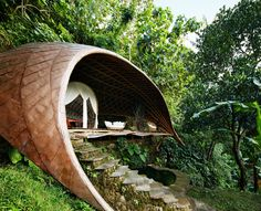Constructed almost entirely of bamboo, the property's guest pavilions—deep in the jungle of Bali—raise the bar for eco-chic