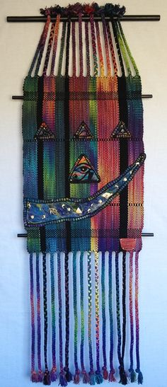 """Hand Dyed Handwoven Silk Tapestry """"Nefertiti Graffiti"""" with Silk Needle Felted Appliques on Etsy, $330.00"""