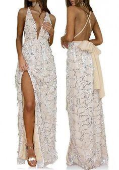 f6f3d93c486 MalangFashion White Floral Sequin Condole Belt Side Slit Maxi Dress