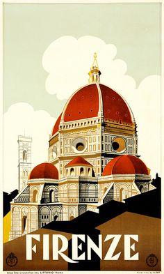 Firenze / Vintage Travel Poster for Florencia www. - Firenze / Vintage Travel Poster for Florencia www. Vintage Italian Posters, Vintage Travel Posters, Vintage Ads, Vintage Style, Art Vintage, Design Vintage, Vintage Canvas, Vintage Horror, Vintage Artwork