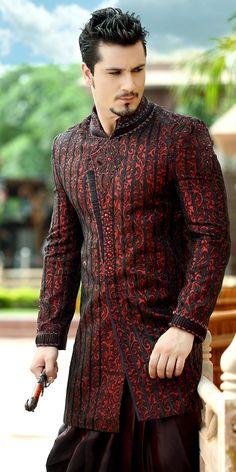 Sherwani Wedding Jacket - a traditional garment worn in Pakistan. note - idea / minus the ornament Wedding Dress Men, Wedding Men, Wedding Suits, Wedding Jacket, Desi Wedding, Indian Man, Indian Groom, Indian Men Fashion, Mens Fashion