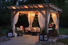 What is the purpose of a Pergola? You can create an unforgettable under your pergola Backyard Gazebo, Backyard Patio Designs, Outdoor Pergola, Pergola Designs, Backyard Landscaping, Pergola Kits, Patio Ideas, Diy Pergola, Cedar Pergola