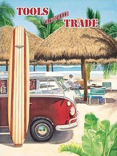 """Tools of the Trade Metal Sign: Surfing and Tropical Decor Wall Accent by OMSC. $15.49. Ships in Ploy-bag for complete protection. Rounded corners with holes for easy hanging. This sign measures 16"""" x 12"""" (400 mm x 300 mm). Glossy, full-color, enamalized imaged baked onto thick, 24-gauge steel. Eco-friendly process, hand-made in the USA. The """"Tools of the Trade Metal Sign"""" is hand-made in America. These sturdy metal signs will perfectly accent any kitchen, home, bar, pub, g..."""