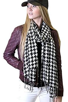 Anika Dali Classic Houndstooth Pattern Scarf, Black/White, Twisted Tassels at Amazon Women's Clothing store: Fashion Scarves