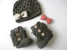 Baby Girl Clothes Crochet Baby Booties Hat by stitchesbystephann, $45.00