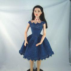 Crochet pattern for party dress for 16 inch dolls par pixiediva